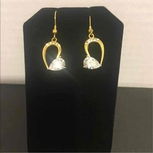 Gold platted stainless steel and crystal earrings